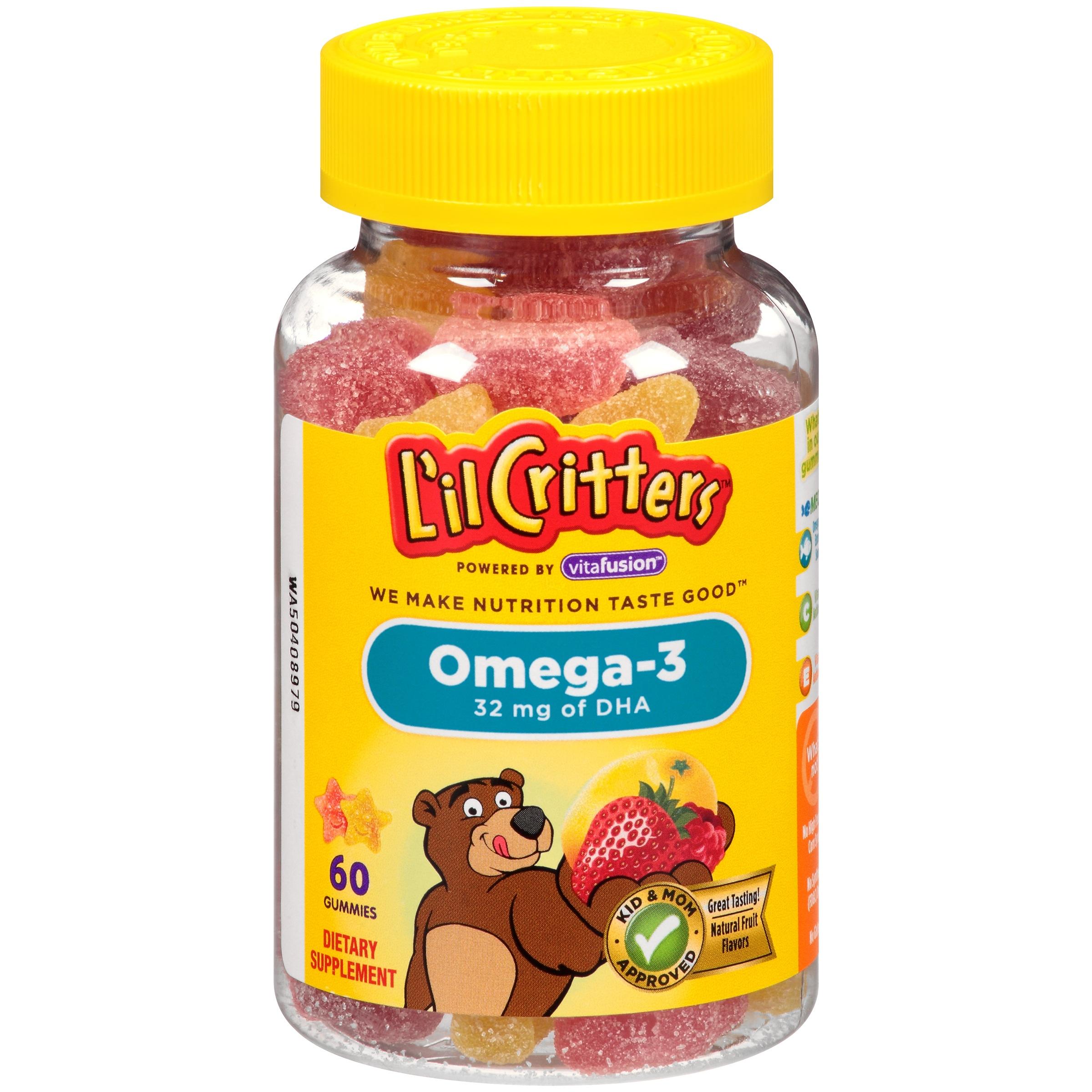 วิตามินเสริมโอเมก้าและ DHA แบบกัมมี่เคี้ยวหนึบ L'il Critters Omega-3 Gummy