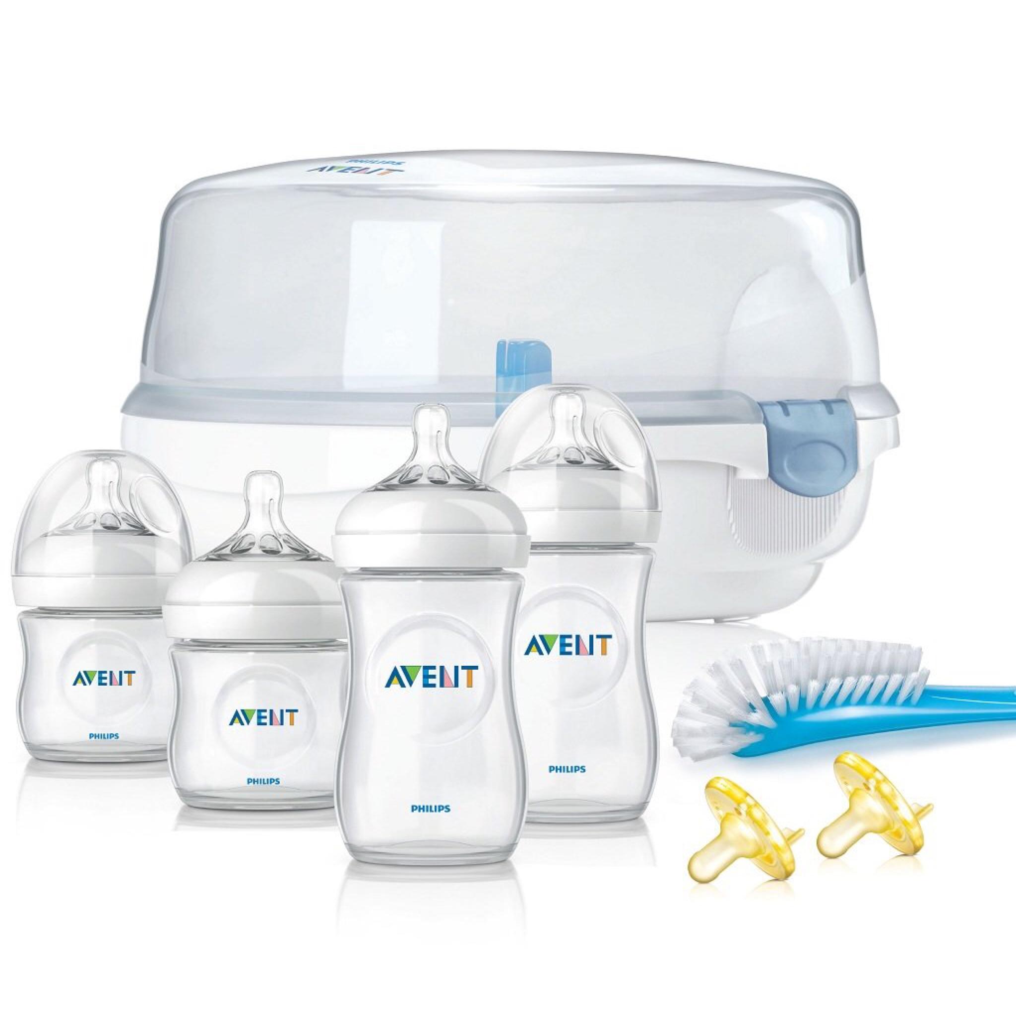 ชุดขวดนมพร้อมอุปกรณ์กำจัดเชื้อโรคด้วยไมโครเวฟ Philips AVENT Essentials Set - Natural