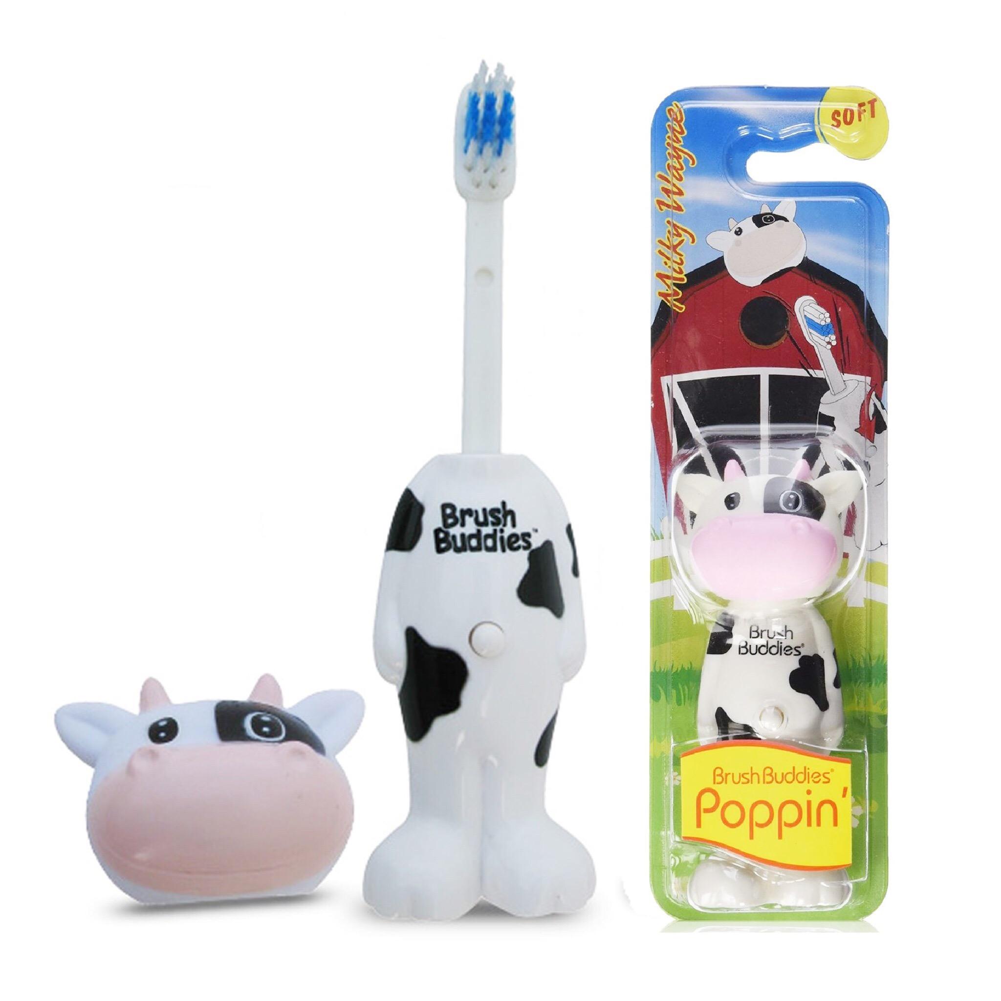 แปรงสีฟันเด้งดึ๋งปลอดสารพิษ Brush Buddies Poppin' Toothbrush (Milky Wayne)