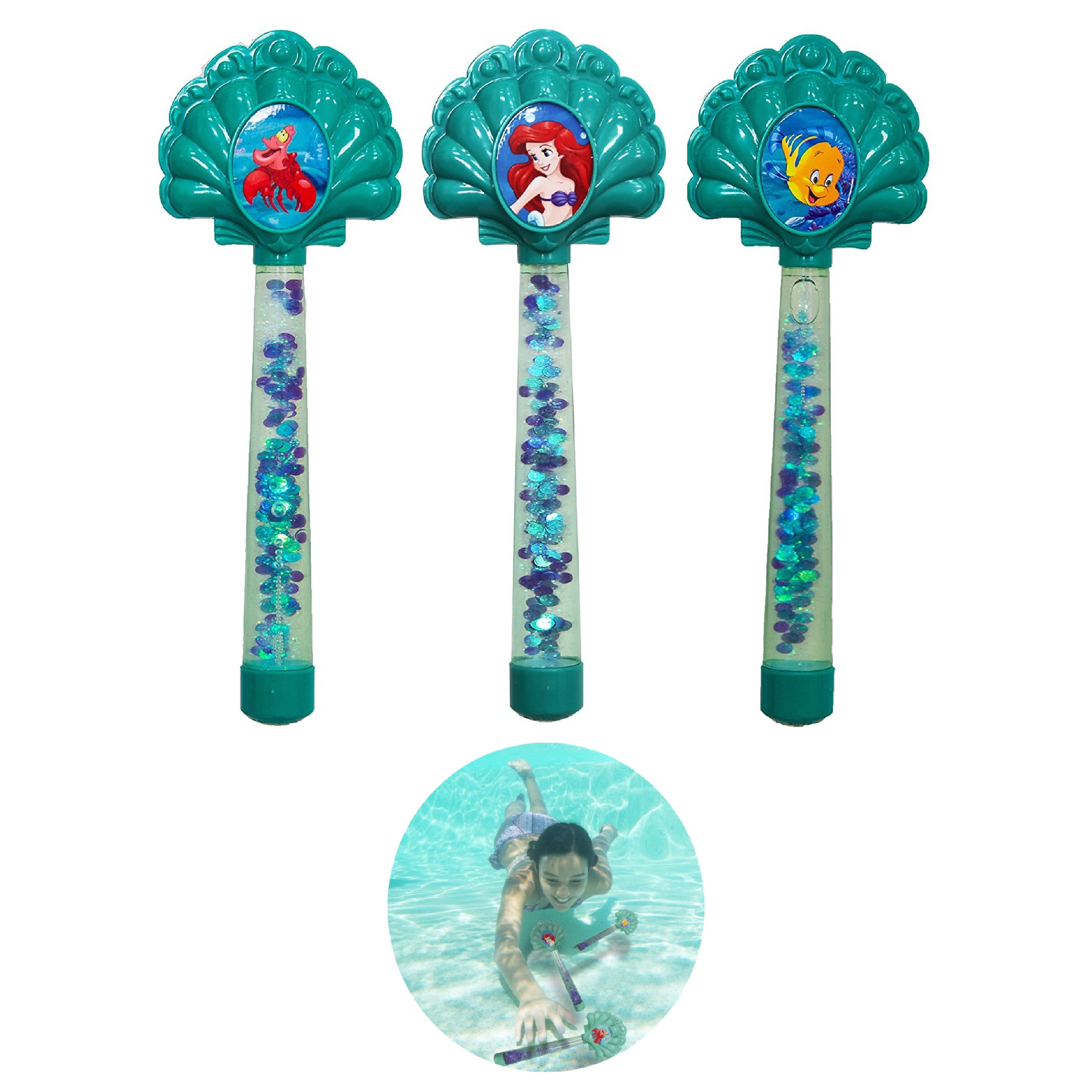 คฑาดำน้ำสุดน่ารัก SwimWays Disney Princess Ariel Glitter Dive Wands (Pack of 3)