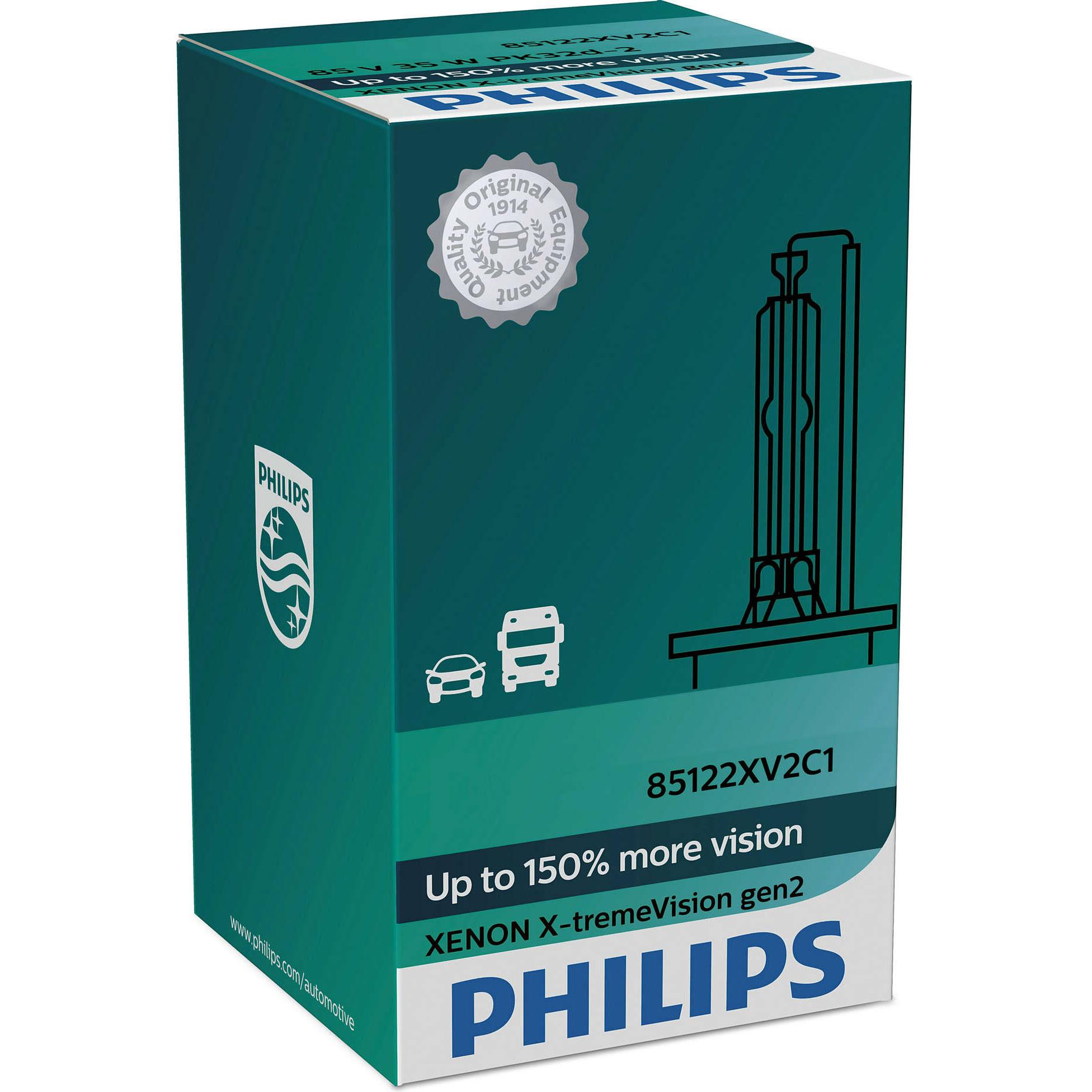 Philips D2R Xenon X-treme Vision +150% New! Gen2 +150% more vision (1 bulb)