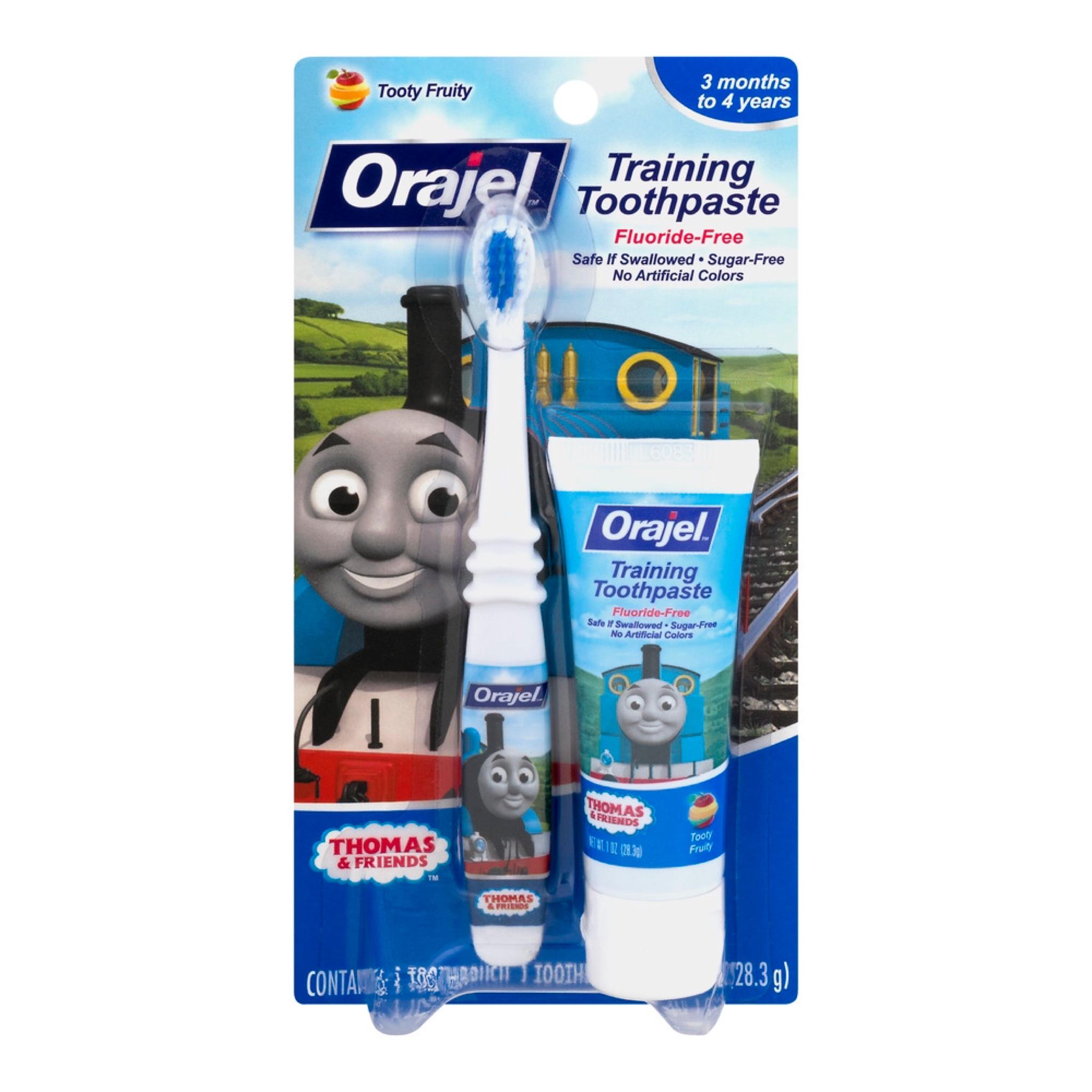 ชุดแปรงสีฟันและยาสีฟันปลอดสารพิษ Baby Orajel Training Toothpaste & Brush (Thomas & Friends)