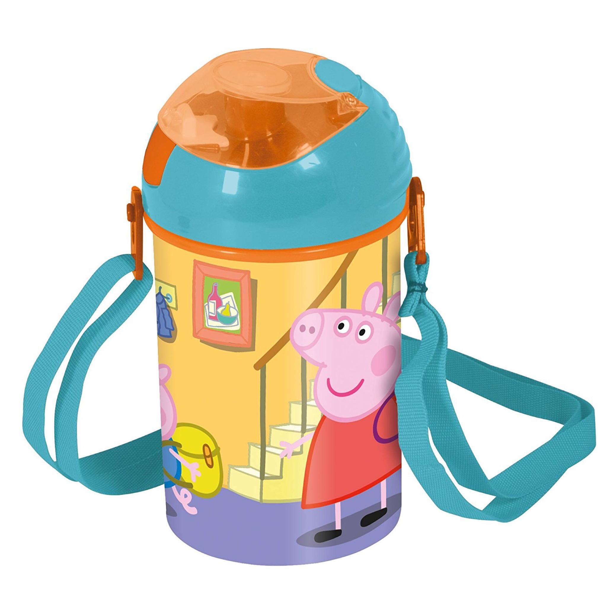 กระติกน้ำพร้อมสายสะพายสำหรับเด็ก Peppa Pig Pop-Up Canteen for Kids