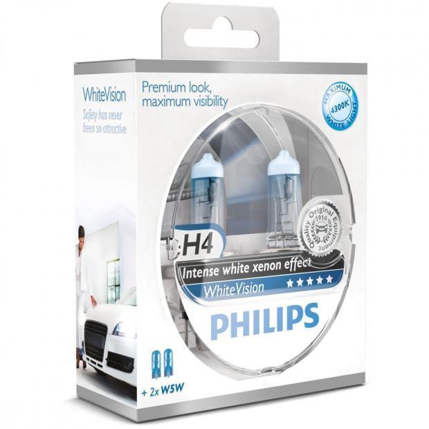 H4 Philips White Vision +60% ส่งฟรี EMS