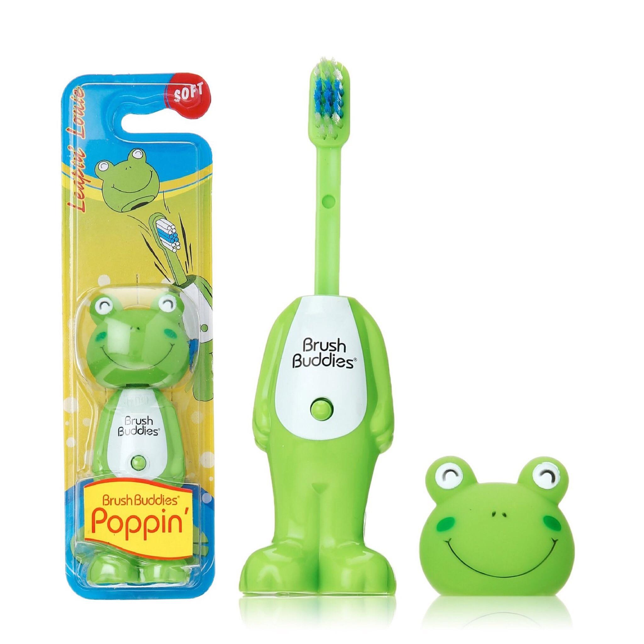แปรงสีฟันเด้งดึ๋งปลอดสารพิษ Brush Buddies Poppin' Toothbrush (Leapin Louie)
