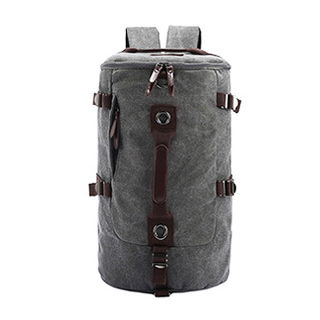 TR01 กระเป๋าทรงกระบอกใหญ่ แคนวาส สีเทา