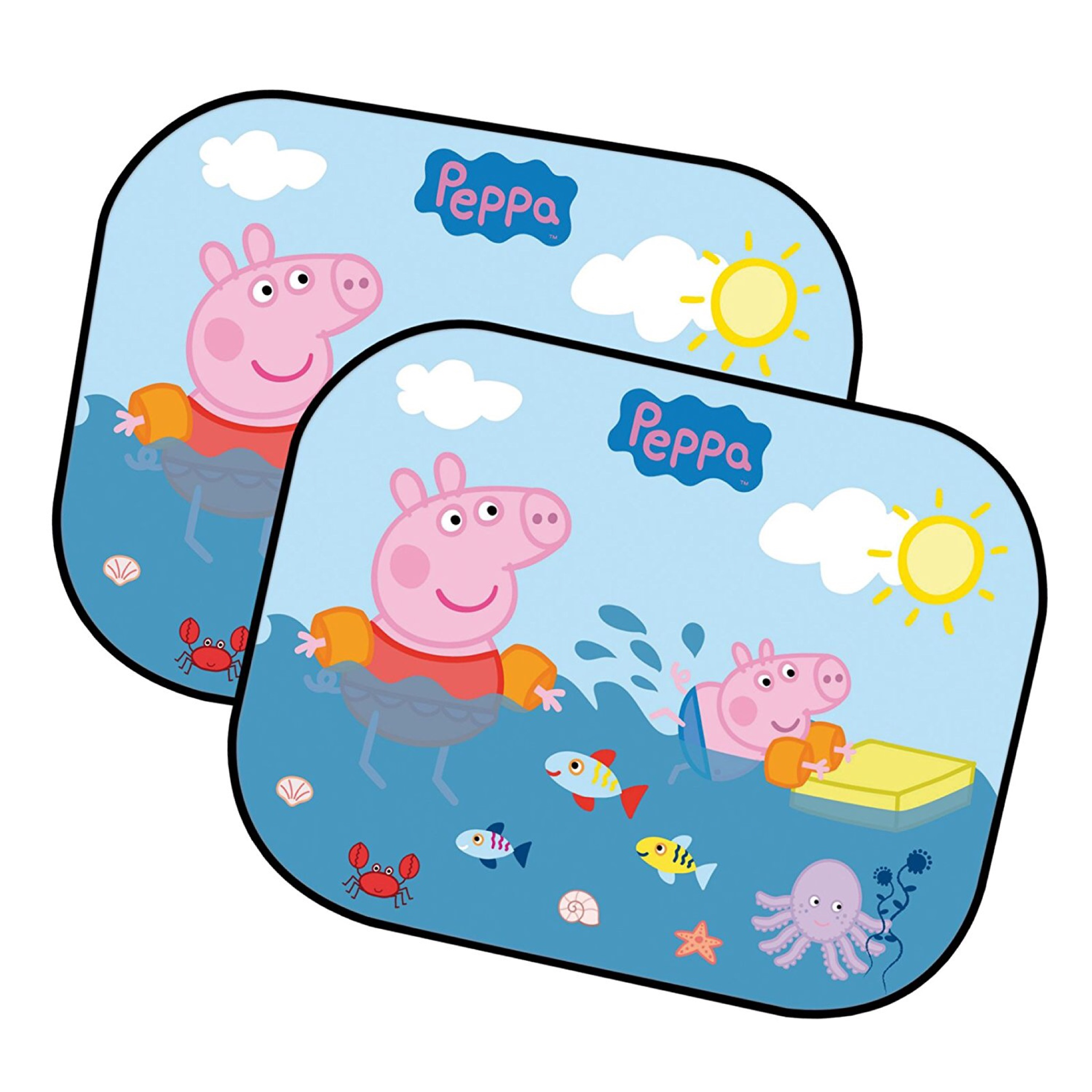 ม่านบังแดดแบบพับได้สุดน่ารัก Peppa Pig Folding Window Sunshades (Pack of 2) (Peppa's Swimming)