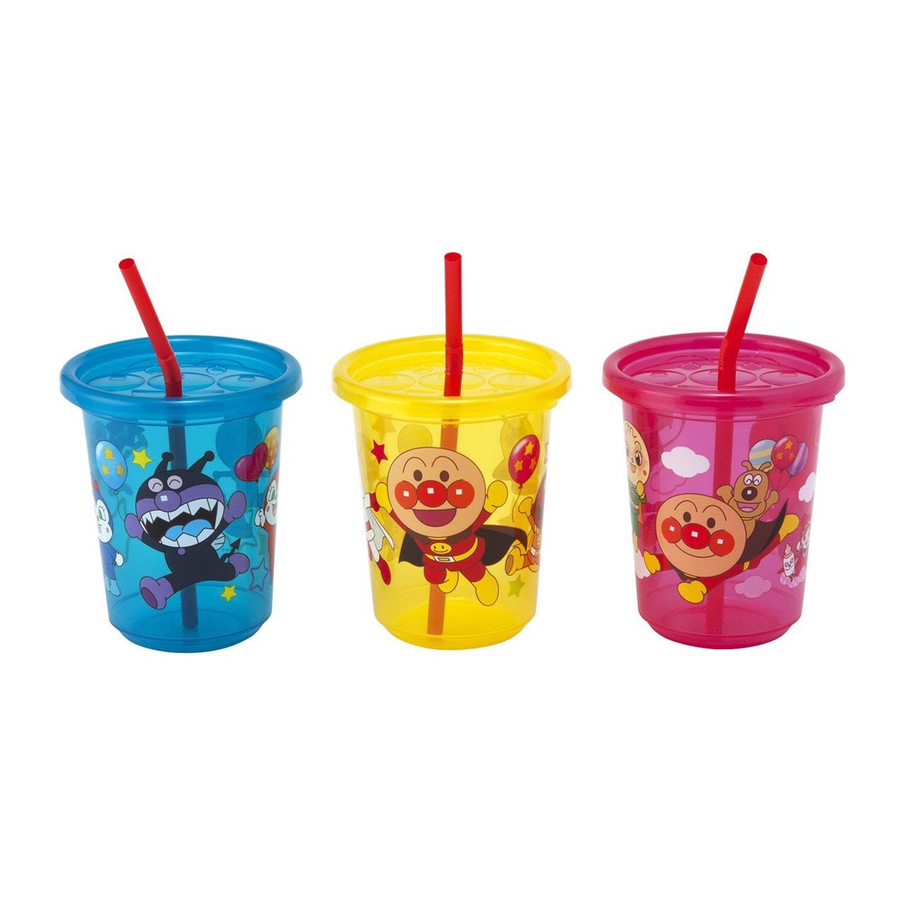 ชุดแก้วน้ำพร้อมฝาปิดและหลอดดื่มน้ำ Anpanman Anpanman Straw Cup Set (Pack of 3)