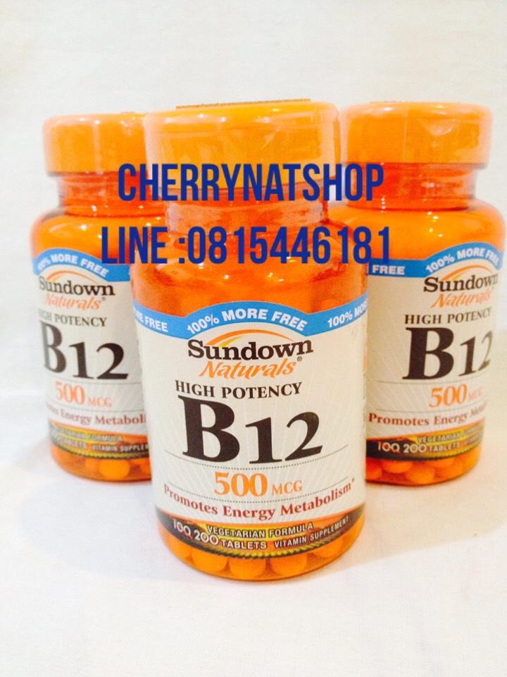 วิตามินบี12 ที่จำเป็นในการดำเนินชีวิตคนกินเจ,มังสะ B12 High potency 500mcg 200เม็ด Sundown Naturals