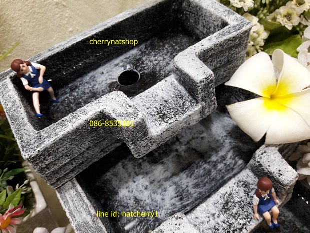 น้ำผุดน้ำล้นน้ำริน3ชั้นอ่างยาวลายหินขาว-ดำ
