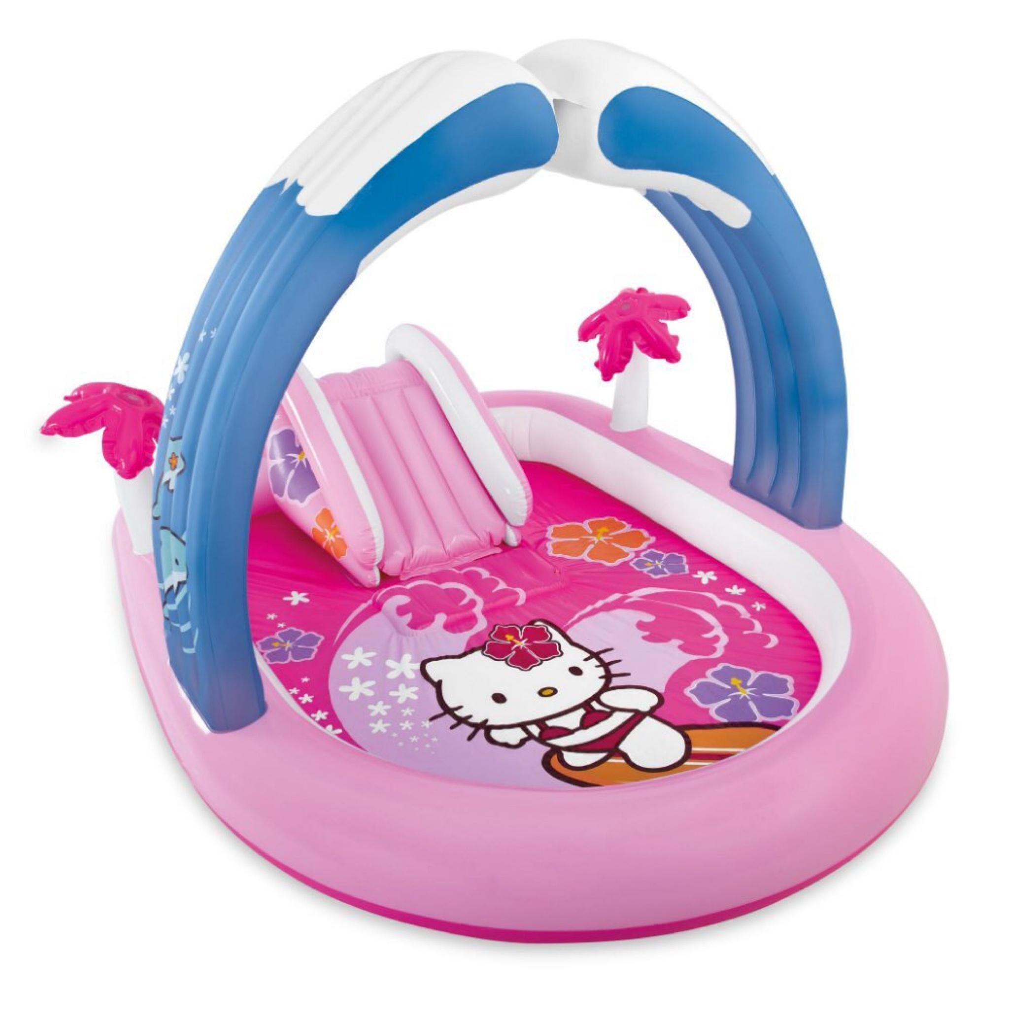 สระน้ำเป่าลมพร้อมสไลเดอร์และน้ำพุ Intex Hello Kitty Play Center