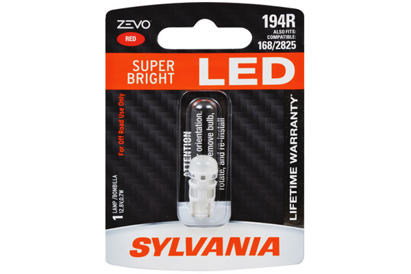 T10 Sylvania ZEVO Super Bright LED RED ส่งฟรี EMS