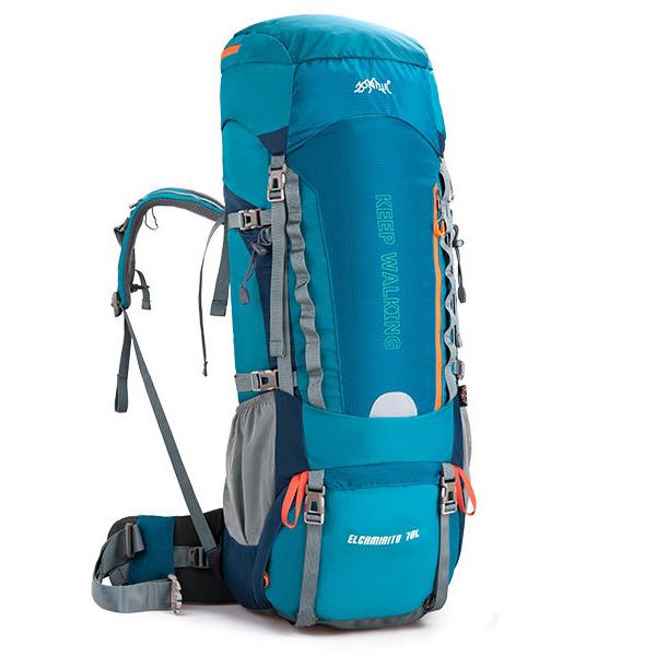 DF02 กระเป๋าเดินทาง AONIJIE สีเขียวหัวเป็ด ขนาดจุสัมภาระ 70+5 ลิตร (เสริมโครง)