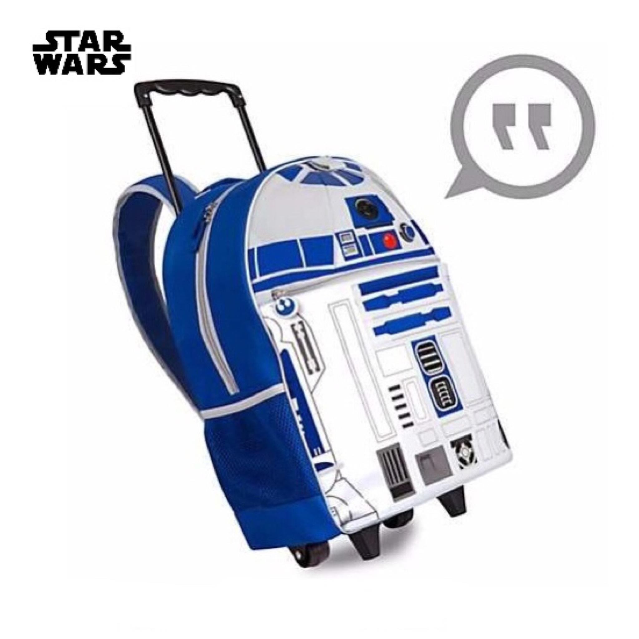 กระเป๋าสะพายพร้อมมือจับและล้อลาก Disney Talking Light-Up Rolling Backpack (R2-D2)