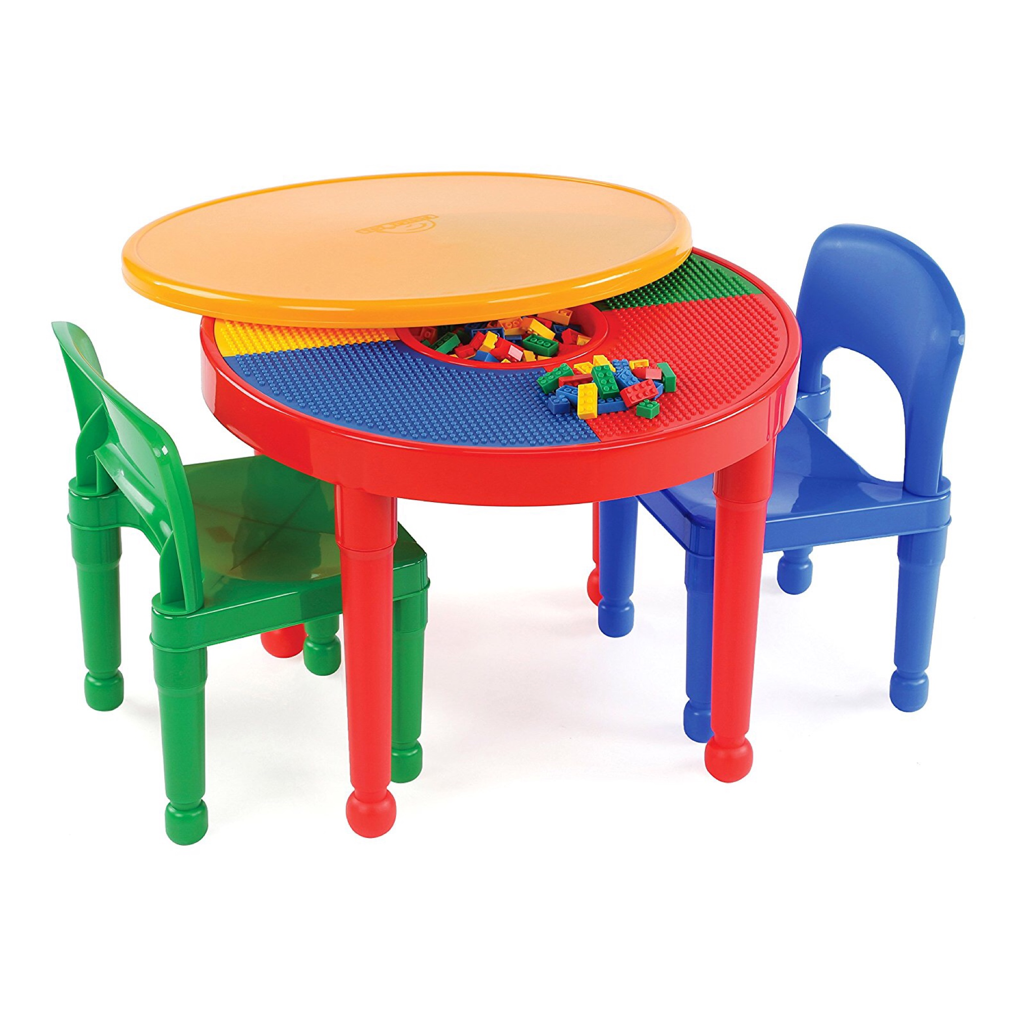 โต๊ะเลโก้เอนกประสงค์ทรงกลม Tot Tutors 2-in-1 Plastic LEGO Compartible Activity Table & 2 Chairs Set - Primary Colors