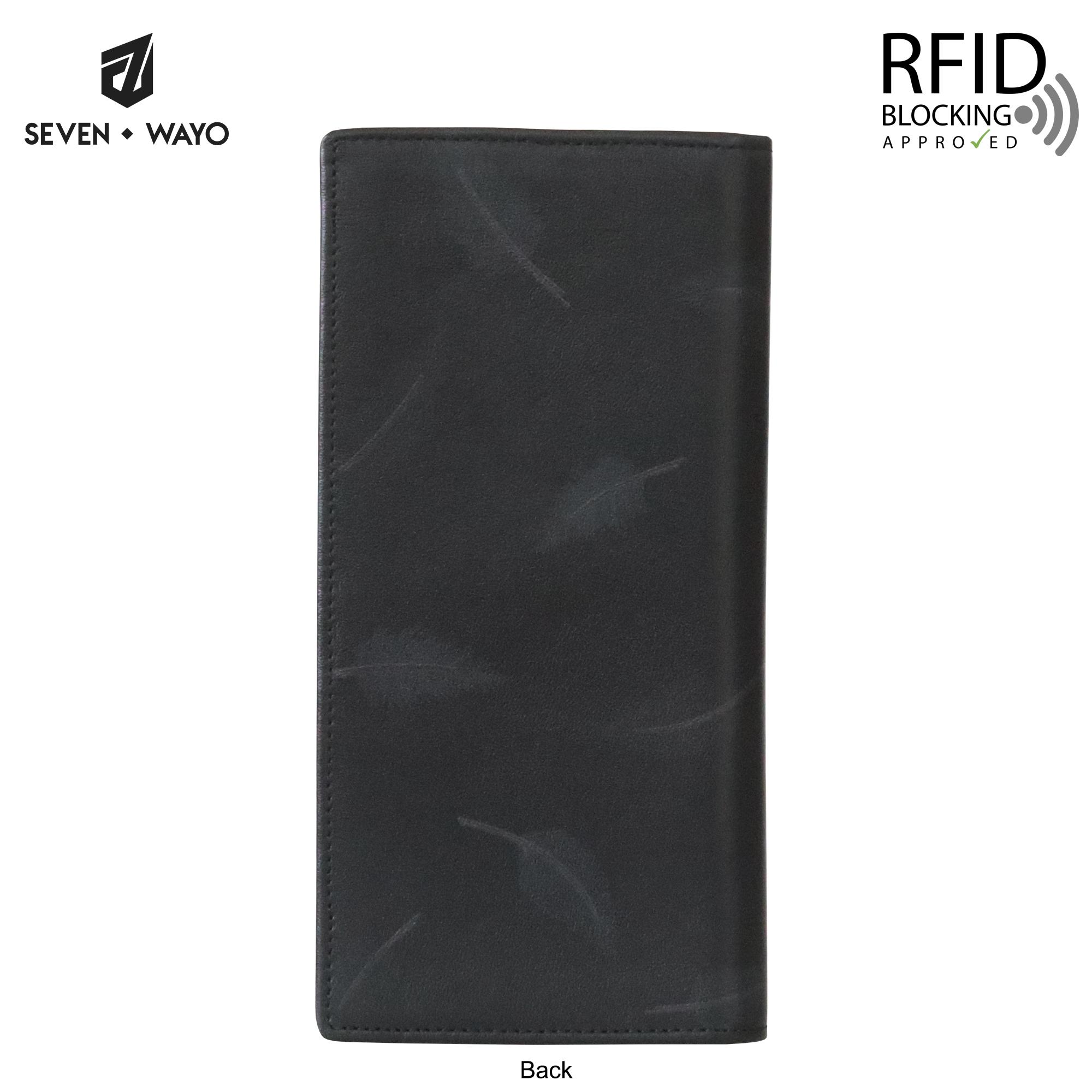 SEVEN WAYO กระเป๋าสตางค์ผู้ชายหนังแท้ RFID Blocking กระเป๋าสตางค์ใบยาว สีดำ แพทเทิร์นขนนก กระเป๋าเงิน กระเป๋าถือ SW03-F