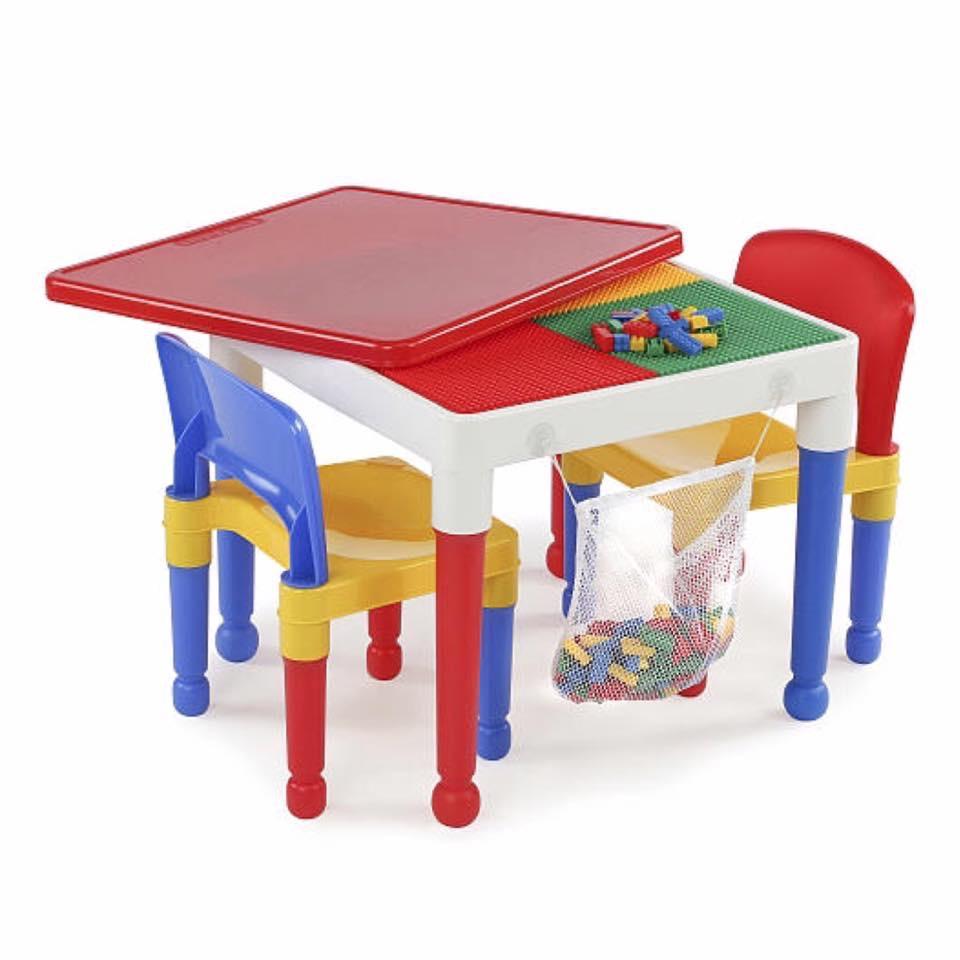 โต๊ะเลโก้เอนกประสงค์ทรงเหลี่ยม Tot Tutors 2-in-1 Plastic LEGO Compartible Activity Table & 2 Chairs Set