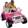 รถจี๊ปบาร์บี้พลังแรงสูงแบบ 2 ที่นั่งสำหรับลูกสาว Fisher-Price รุ่น Power Wheels Barbie Jammin' Jeep Wrangler 12-Volt Battery Powered Ride-On (Pink)