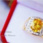 แหวนผู้ชายหุ้มทองแท้ประดับด้วยเพชรสวิส cz แท้ รหัส INJ116