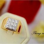 แหวนผู้ชายหุ้มทองแท้ประดับด้วยเพชรสวิส cz แท้ รหัส INJ111