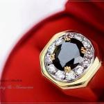 แหวนผู้ชายหุ้มทองแท้ประดับด้วยเพชรสวิส cz แท้ รหัส INJ202