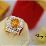 แหวนผู้ชายหุ้มทองแท้ประดับด้วยเพชรสวิส cz แท้ รหัส INJ110