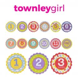 ชุดสติ๊กเกอร์ไมล์สโตนอายุสำหรับทารกและเด็กเล็ก Townleygirl Milestone Stickers (12 Pack)