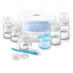 ชุดขวดนมพร้อมอุปกรณ์กำจัดเชื้อโรคด้วยไมโครเวฟ Philips AVENT Essentials Gift Set - Classic