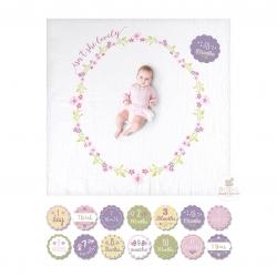 ชุดผ้าห่มและไมล์สโตนการ์ดอายุ lulujo baby Baby's First Year Blanket & Cards Set (Isn't She Lovely)