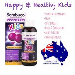 วิตามินเสริมภูมิคุ้มกันพร้อมต้านอาการไข้หวัด Sambucol Black Elderberry Cold & Flu Kids