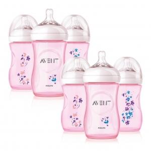 ชุดขวดนมปลอดสารพิษสุดน่ารัก Philips Avent รุ่น 9-Ounce Natural Bottles Set (Pack of 6) - Pink Flower Limited Edition