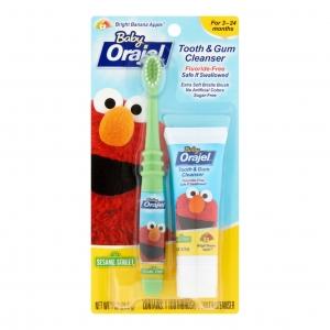 ชุดแปรงสีฟันและยาสีฟันปลอดสารพิษ Baby Orajel Training Toothpaste & Brush (Elmo Sesame Street)