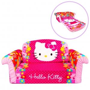 โซฟาเอนกประสงค์สำหรับเด็ก Marshmallow Furniture Children's 2-in-1 Flip Open Foam Sofa (Hello Kitty)