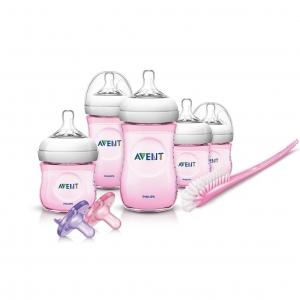 ชุดขวดนมพร้อมอุปกรณ์ทำความสะอาด Philips Avent รุ่น Avent Newborn Starter Gift Set - Natural (Pink)