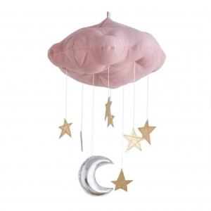 โมบายแขวนแสนน่ารัก Luxe Moon & Star Natural Dyed Cloud Mobile (Pink)