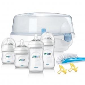 ชุดขวดนมพร้อมอุปกรณ์กำจัดเชื้อโรคด้วยไมโครเวฟ Philips Avent รุ่น Avent Essentials Set - Natural