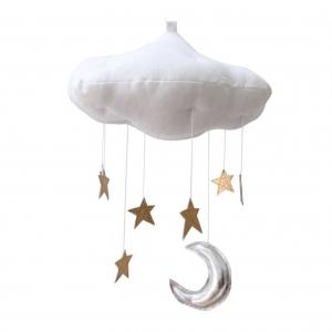 โมบายแขวนแสนน่ารัก Luxe Moon & Star Natural Dyed Cloud Mobile (White)
