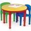 โต๊ะเลโก้เอนกประสงค์ทรงกลม Tot Tutors 2-in-1 Plastic LEGO Compartible Activity Table & 2 Chairs Set - Primary Colors thumbnail 4