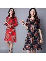 พรีออเดอร์ เสื้อตัวยาว ผ้าฝ้าย แขนยาว คอวี พิมพ์ลายดอก มีสีแดง สีกรม Size M-2XL ราคา 390 บาท 3 ตัวขึ้นไป ตัวละ 350 บาท คละแบบได้