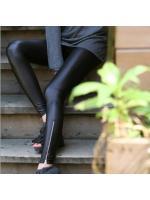 เลคกิ้งแฟชั่น หนังเทียม ขายาว แต่งซิปที่ปลายขา สีดำ เนื้อนิ่ม ใส่สบาย ไม่ร้อน ปลีก250 ส่ง200