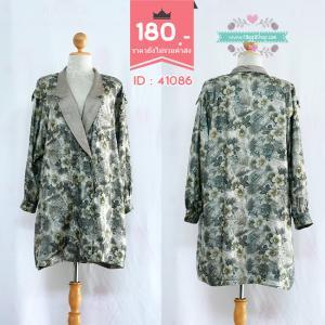 41086 (ID 3361 จองคะ) เสื้อสูท เสื้อโค้ท สีเทาพิมพ์ลาย XXL