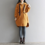 พรีออเดอร์ เสื้อกันหนาว ตัวยาว พร้อมหมวก ผ้าฝ้ายผสมขนแกะ มีสีดำ สีส้ม Size M-2XL ราคา 470 บาท 3 ตัวขึ้นไป ตัวละ 420 บาท คละแบบได้