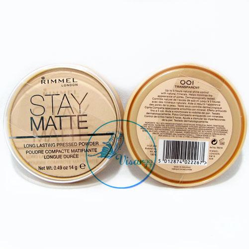 Rimmel London Stay Matte Long Lasting Pressed Powder 14 g. # 001 Transparent สำหรับผิวขาว แป้งฝุ่นอัดแข็ง สูตรควบคุมความมัน