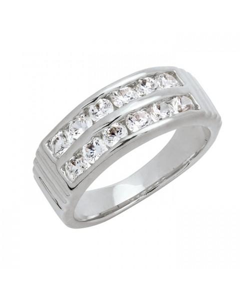 แหวนอัลลอยด์หุ้มทองคำขาวแท้ ฝังหนีบเพชร