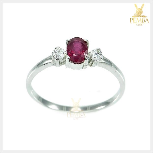 แหวนทับทิมแท้ ชุบทองคำขาว สวยเก๋ น่ารักๆ