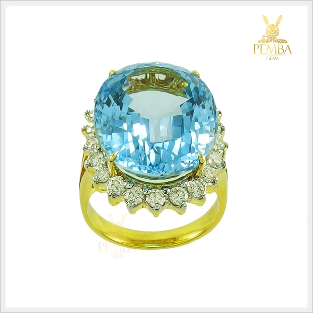 แหวนสวิสบลูโทแพซแท้ ทองแท้ เพชรแท้(สามารถสั่งทำได้ค่ะ)