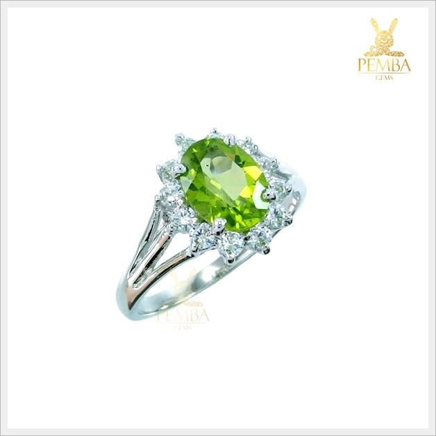 แหวนเพริดอตแท้ เงินแท้ ชุบทองคำขาว