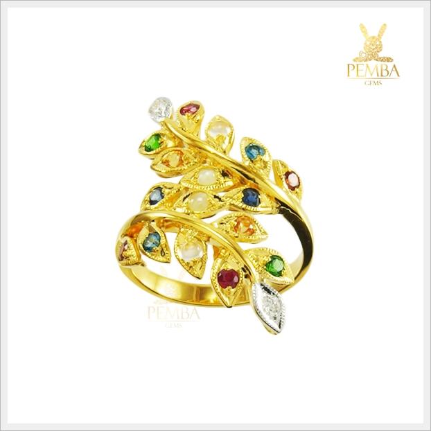 แหวนนพเก้า ทองแท้ ใบมะกอก (สามารถสั่งทำได้ค่ะ)