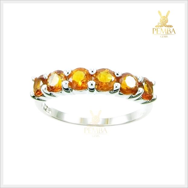 แหวนซิทรินแท้ แถว 6 เม็ด เงินแท้ ชุบทองคำขาว