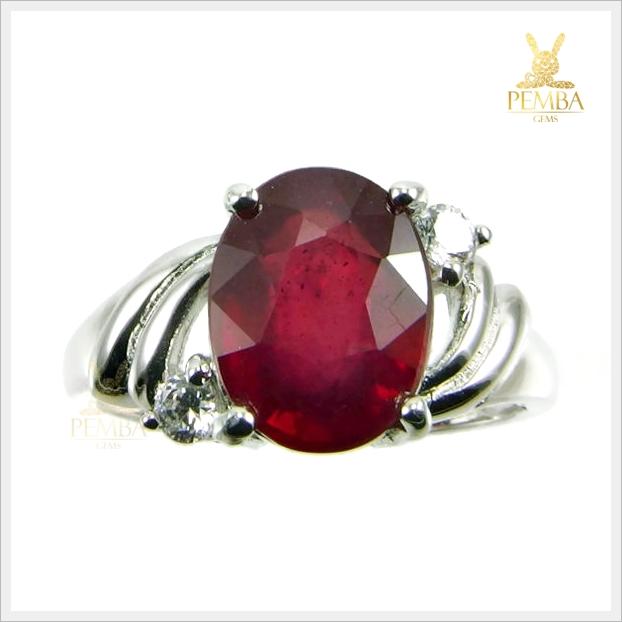 แหวนทับทิมแท้ สีแดงเลือดนก สวยเก๋ ดูมีไตล์